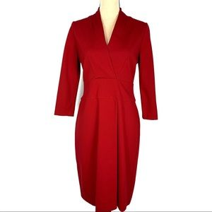 Talbots Red Slightly Pleated Sheath Midi Dress EUC